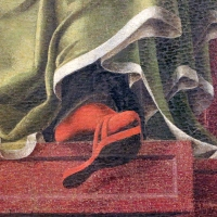 Bottega di cosmè tura, musa erato, 1450 ca., dallo studiolo di belfiore, 04 sandalo che sporge - Sailko - Ferrara (FE)