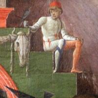 Cosmè tura, giudizio di san maurelio, 1480, da s. giorgio a ferrara, 05 paggio con falcone vicino bucranio - Sailko - Ferrara (FE)