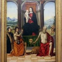 Francesco bianchi ferrari, madonna col bambino in trono, i ss. g. battista e girolamo e il committente giovanni strozzi, 1480-1500 ca. (modena) - Sailko - Ferrara (FE)