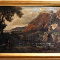 Giuseppe avanzi (attr.), paesaggio con viandanti e cascata - Sailko - Ferrara (FE)
