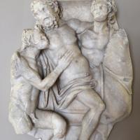 Arte romana, frammento di sarcofago con sileno e satiri, 150 dc ca - Sailko - Modena (MO)