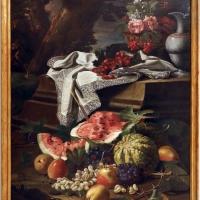 Cristoforo munari, natura morta con cesto di fiori, brocca di porcellana cinese e frutta, 1706 ca - Sailko - Modena (MO)