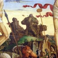 Francesco bianchi ferrari, crocifissione coi ss. girolamo e francesco (pala delle tre croci), 1490-95 ca. 03 rocce - Sailko - Modena (MO)