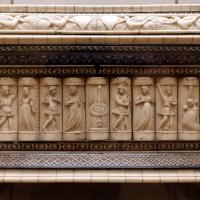 Italia settentrionale, cofanetto nuziale con storie di susanna, ebano, osso, avorio e legni dipinti, xv secolo - Sailko - Modena (MO)