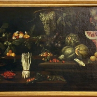 Scuola romana, natura morta con frutta, verdura e funghi, 1610-20 ca - Sailko - Modena (MO)