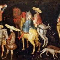 Secondo maestro di carpi, leggenda di san giovanni boccadoro (crisostomo), 1430 ca. 04 cavalieri - Sailko - Modena (MO)