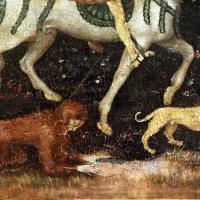 Secondo maestro di carpi, leggenda di san giovanni boccadoro (crisostomo), 1430 ca. 07 uomo selvaggio e cane - Sailko - Modena (MO)
