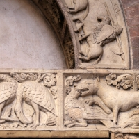 Ambito di wiligelmo, porta della pescheria, 03 favole di esopo, 03 - Sailko - Modena (MO)