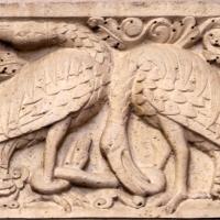 Ambito di wiligelmo, porta della pescheria, 03 favole di esopo, 02,2 uccelli e serpente - Sailko - Modena (MO)