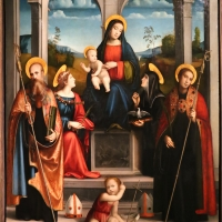 Francesco francia, madonna col bambino in trono coi ss. bnedetto, giustina, scolastica e placido, 1515 - Sailko - Parma (PR)