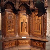 Bernardino da lendinara, due tronetti lignei con vedute di città e i ss. ilario e giovanni battista, 1494, 01 - Sailko - Parma (PR)