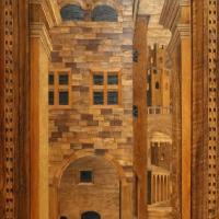 Bernardino da lendinara, due tronetti lignei con vedute di città e i ss. ilario e giovanni battista, 1494, 02 - Sailko - Parma (PR)