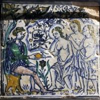 Bottega pesarese, pavimento maiolicato dal monastero di san paolo a parma, 1470-82 ca., giudizio di paride - Sailko - Parma (PR)