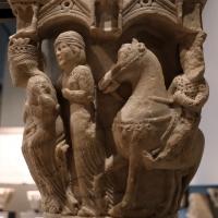 Benedetto antelami, capitello con storie bibliche, dal duomo di parma, 1178, assalonne a cavallo e la regina di saba - Sailko - Parma (PR)