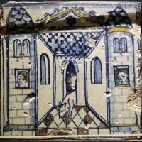 Bottega pesarese, pavimento maiolicato dal monastero di san paolo a parma, 1470-82 ca., veduta di cortile con cane - Sailko - Parma (PR)