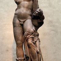 Arte romana, bacco con fauno in basanite, dagli orti farnesiani sul palatino, II secolo dc. 01 - Sailko - Parma (PR)