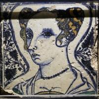Bottega pesarese, pavimento maiolicato dal monastero di san paolo a parma, 1470-82 ca., busto di donna - Sailko - Parma (PR)
