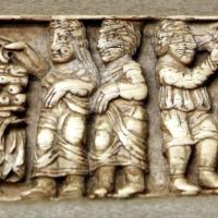Arte copta, bassorilievo in avorio con scene della vita di cristo (miracolo della moltiplicazione dei pani e pesci e nozze di cana), IV secolo - Sailko - Parma (PR)