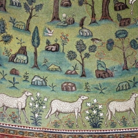 Sant'apollinare in classe, mosaici del catino, trasfigurazione simbolica, VI secolo, 09 agnelli come apostoli - Sailko - Ravenna (RA)