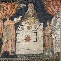 Sant'apollinare in classe, mosaici del catino, sacrifici di abele, melchidesech e abramo, 650-700 ca. 03 - Sailko - Ravenna (RA)