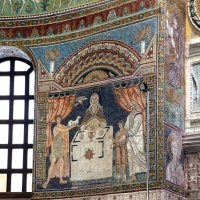 Sant'apollinare in classe, mosaici del catino, sacrifici di abele, melchidesech e abramo, 650-700 ca. 01 - Sailko - Ravenna (RA)