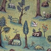 Sant'apollinare in classe, mosaici del catino, trasfigurazione simbolica, VI secolo, 10 giardino (con restauri) 1 - Sailko - Ravenna (RA)