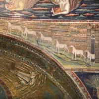 Sant'apollinare in classe, mosaici dell'arcone, 12 agnelli che escono da gerusalemme e betlemme (VII sec.) 11 - Sailko - Ravenna (RA)