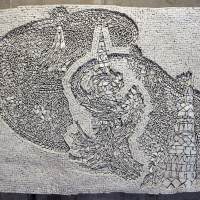 Toyoharu kii, obelischi o spine nel cuore, marmo su legno, 2013 - Sailko - Ravenna (RA)