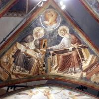 Pietro da rimini e bottega, affreschi dalla chiesa di s. chiara a ravenna, 1310-20 ca., volta con evangelisti e dottori, gregorio e luca - Sailko - Ravenna (RA)