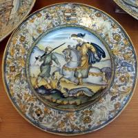 Castelli, ambito di francesco grue, piatto, 1650 ca. cavailiere a caccia con cane e servitore - Sailko - Ravenna (RA)