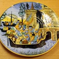 Urbino, tagliere istoriato, 1540-1550 ca. spedizione navale - Sailko - Ravenna (RA)