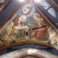 Pietro da rimini e bottega, affreschi dalla chiesa di s. chiara a ravenna, 1310-20 ca., volta con evangelisti e dottori, agostino e giovanni - Sailko - Ravenna (RA)
