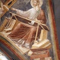 Pietro da rimini e bottega, affreschi dalla chiesa di s. chiara a ravenna, 1310-20 ca., volta con evangelisti e dottori, luca - Sailko - Ravenna (RA)