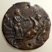 Pseudo fra antonio da brescia (attr.), abbondanza e un satiro, italia del nord, 1500 ca - Sailko - Ravenna (RA)