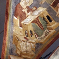 Pietro da rimini e bottega, affreschi dalla chiesa di s. chiara a ravenna, 1310-20 ca., volta con evangelisti e dottori, agostino - Sailko - Ravenna (RA)