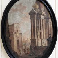 Pittore emiliano, prospettiva con viandanti, 1750-1790 ca - Sailko - Ravenna (RA)