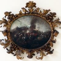 Italia settentrionale, scena di battaglia con colonna di fumo, 1650-1700 ca - Sailko - Ravenna (RA)