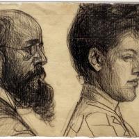 Domenico beccarini, due volti (uomo con barba e donna), 1904 - Sailko - Ravenna (RA)