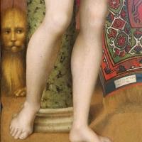 Luca longhi, sposalizio mistico di s. caterina tra i ss. sebastiano, girolamo, rocco e benedetto 03 leone - Sailko - Ravenna (RA)