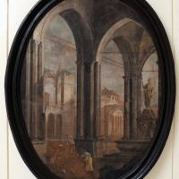 Pittore emiliano, prospettiva con porticato gorico, fontana e veduta di rovine, 1750-1790 ca - Sailko - Ravenna (RA)