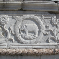 Tempio malatestiano, esterno, zoccolo, elefante malatesta 01 - Sailko - Rimini (RN)